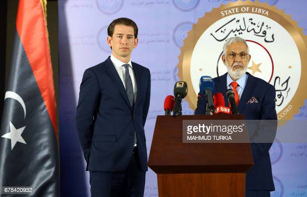 Austria's Minister of Foreign Affairs Sebastian Kurz and Libyan Government of National Accord's Foreign Minister Mohamed Taha Siala give a joint...