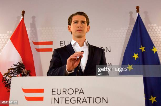 Austria's Minister of Foreign Affairs Sebastian Kurz attends a press conference in Vienna Austria on May 12 2017 Kurz holds a presse statement on the...