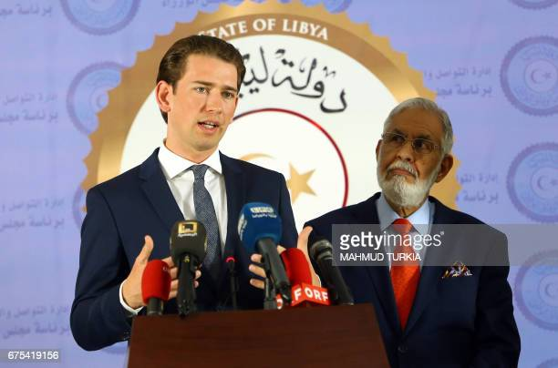Austria's Minister of Foreign Affairs Sebastian Kurz gestures during a press conference with Libyan Government of National Accord's Foreign Minister...