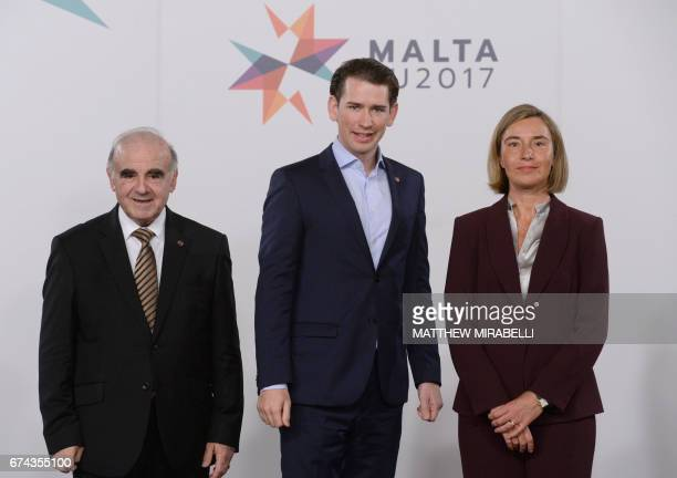 Austrias Minister of Foreign Affairs Sebastian Kurz poses with the high representative of the European Union for foreign affairs and security policy...
