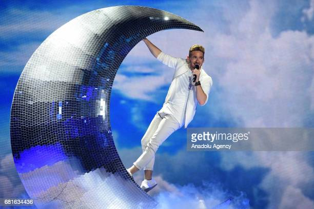 Austria's Nathan Trent performs the song 'Running On Air' during the second semifinal dress rehearsal of Eurovision Song Contest 2017 at the...