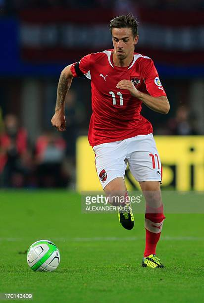 Austria's national football team player Martin Harnik runs for the ball during the 2014 World Cup qualifying football match between Austria and...