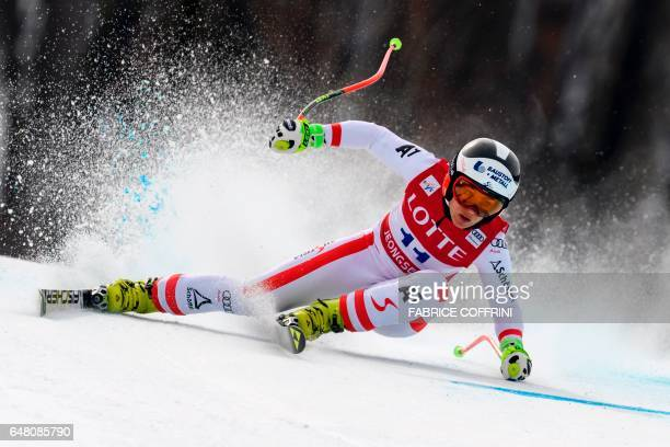 Austria's Nicole Schmidhofer competes during the Women's Super G race at the FIS Alpine Ski World Cup in Jeongseon some 150km east of Seoul part of a...