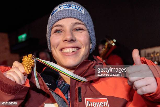 Austria's Nicole Schmidhofer poses with her medal after the podium ceremony of the women's SuperG race at the 2017 FIS Alpine World Ski Championships...