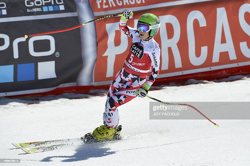 Austria's Nicole Schmidhofer reacts after the Women's downhill at the FIS Alpine Skiing World Cup finals in Meribel on March 18, 2015.