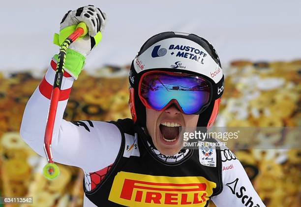TOPSHOT Austria's Nicole Schmidhofer reacts in the finish area of the women's SuperG race at the 2017 FIS Alpine World Ski Championships in St Moritz...
