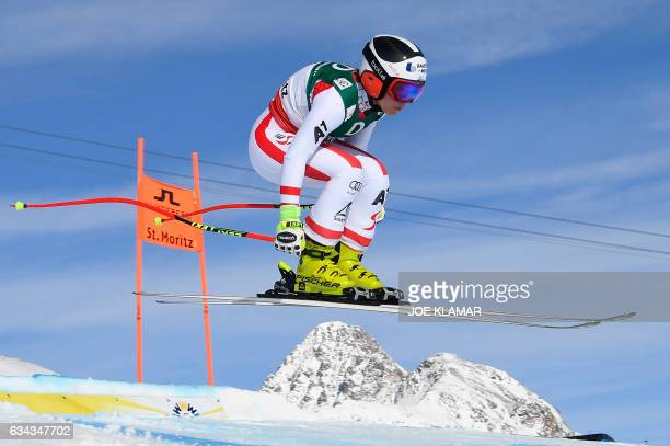 Austria's Nicole Schmidhofer takes part in a training session of the women's downhill race at the 2017 FIS Alpine World Ski Championships in St...