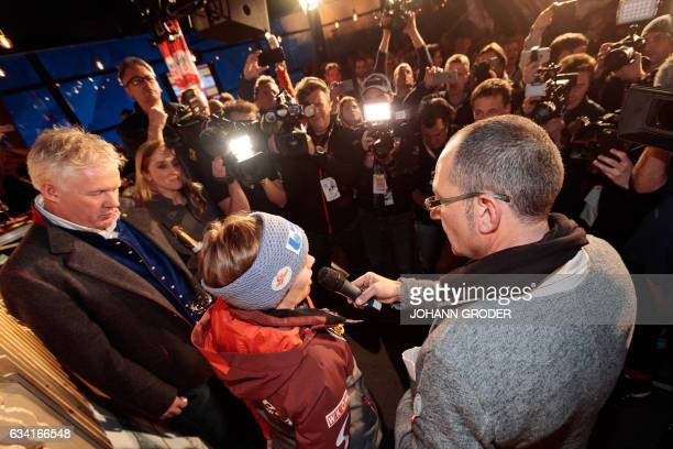 Austria's Nicole Schmidhofer talks to the press after winning the gold medal at the women's SuperG race at the 2017 FIS Alpine World Ski...