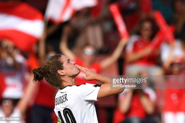 Austria's Nina Burger celebrates after she scored a goal during the UEFA Womens Euro 2017 football tournament match between Austria and Switzerland...