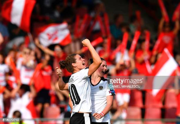 Austria's Nina Burger celebrates with her teammate Sarah Zadrazil after scoring a goal against of Switzerland during the UEFA Womens Euro 2017...