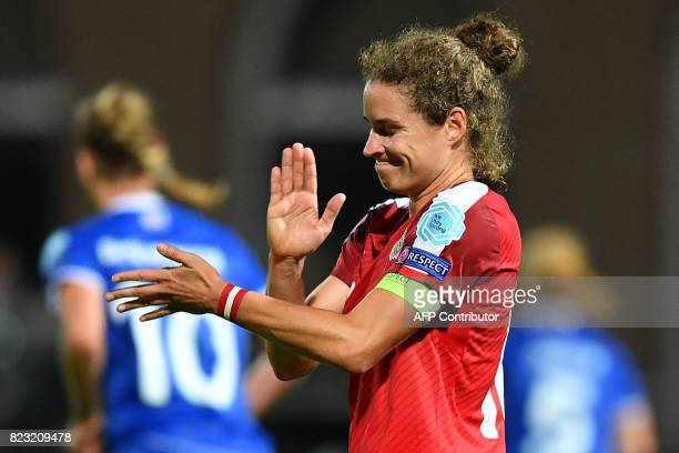 Austria's Nina Burger reacts at the end of the UEFA Women's Euro 2017 football match between Iceland and Austria at the Sparta Stadium in Rotterdam...