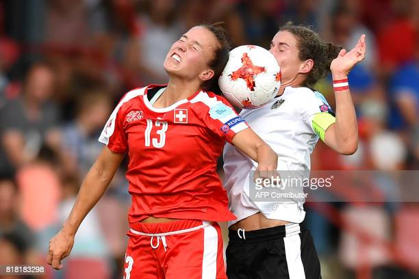 Austria's Nina Burger vies with Switzerland's Lia Walti during the UEFA Womens Euro 2017 football tournament match between Austria and Switzerland at...