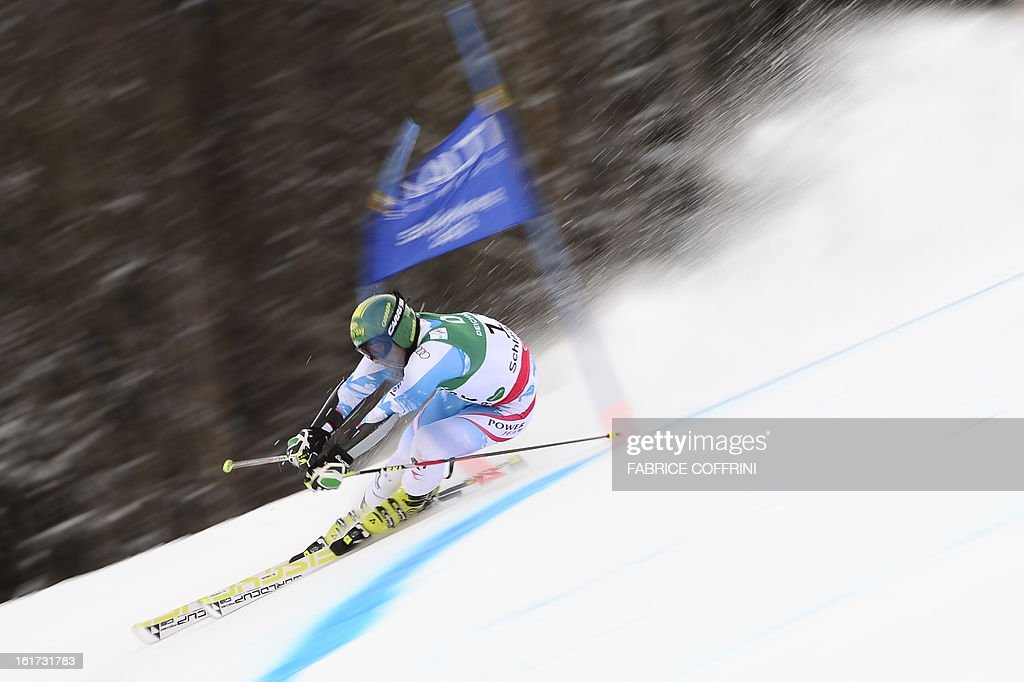 Austria's Philipp Schoerghofer skis during the first run of the men's Giant slalom at the 2013 Ski World Championships in Schladming, Austria on February 15, 2013.