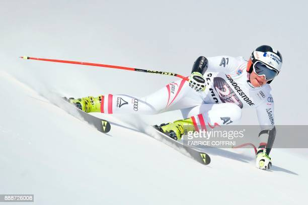 Austria's Ramona Siebenhofer competes in the Ladies' SuperG race during the FIS Alpine Skiing World Cup in St Moritz on December 9 2017 PHOTO /...