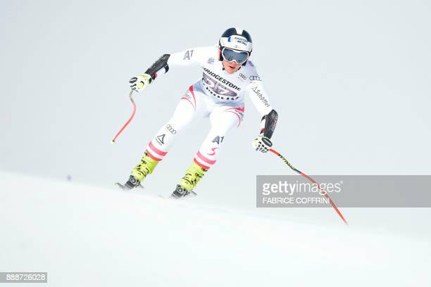 Austria's Ramona Siebenhofer competes in the Ladies' SuperG race during the FIS Alpine Skiing World Cup in St Moritz on December 9 2017 / AFP PHOTO /...