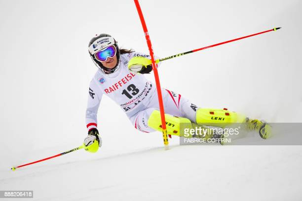 TOPSHOT Austria's Ramona Siebenhofer competes in the slalom race of the FIS Alpine Skiing World Cup Ladies' Alpine combined on December 8 2017 in St...
