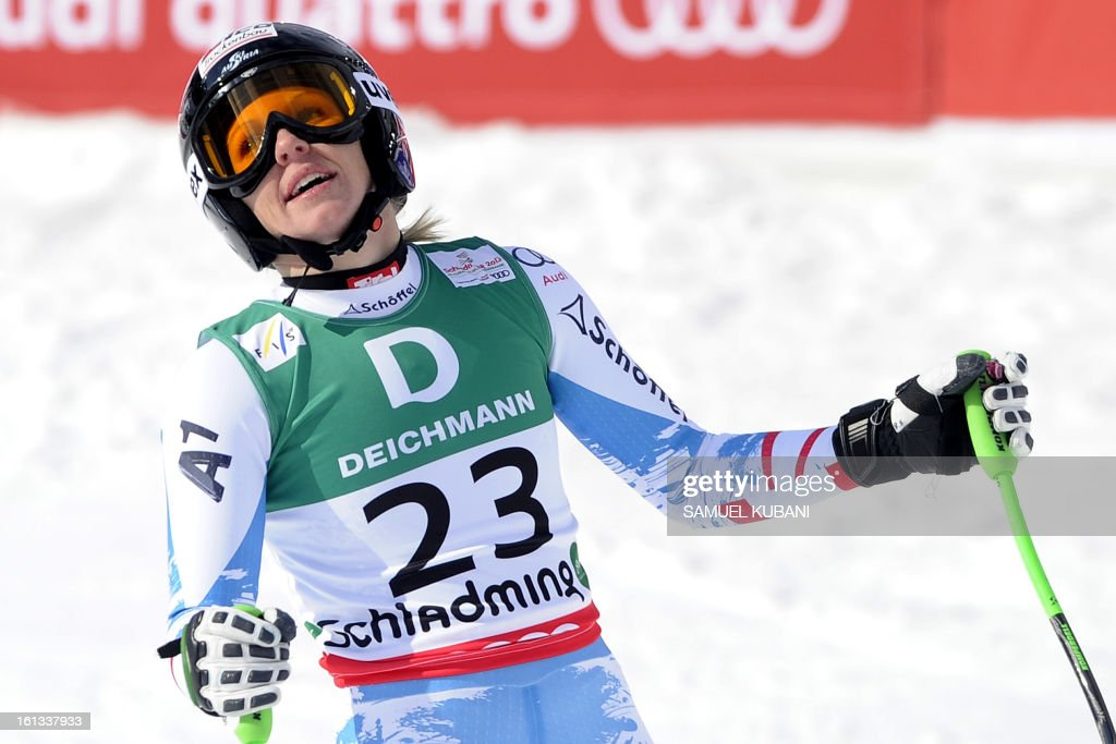 Austria's Regina Sterz reacts at finish line during the women's downhill event of the 2013 Ski World Championships in Schladming, Austria on February 10, 2013.