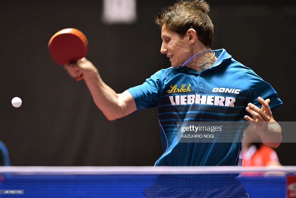 Austria's Robert Gardos returns a shot against Poland's Daniel Gorak during their match in the men's team championship division group A at the 2014 World Team Table Tennis Championships in Tokyo on May 1, 2014.