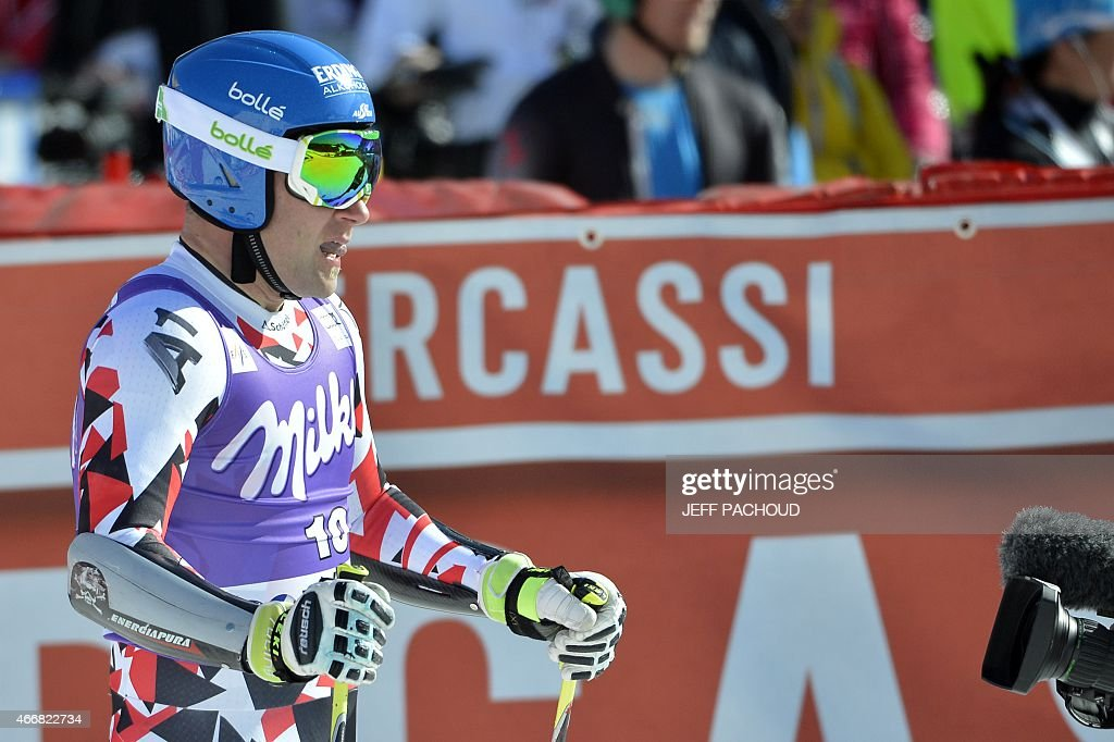 Austria's Romed Baumann reacts after taking part in the Men's Super G race at the FIS Alpine Skiing World Cup finals in Meribel on March 19 2015 AFP...