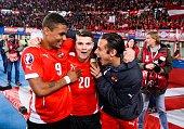 Austria`s Rubin Okotie Marcel Sabitzer and Heinz Lindner celebrate after the UEFA 2016 European Championship qualifying round Group G football match...