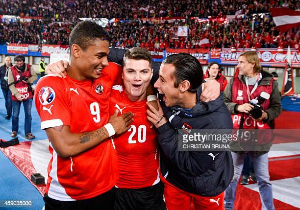 Austria`s Rubin Okotie Marcel Sabitzer and Heinz Lindner celebrate after the UEFA 2016 European Championship qualifying round Group G football match...