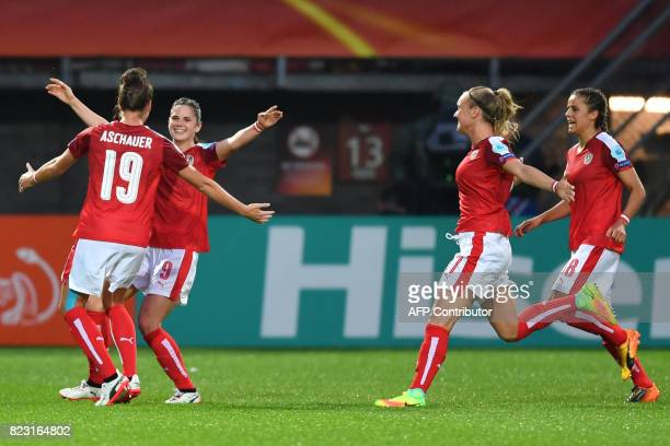 Austria's Sarah Zadrazil celebrates with teammates after scoring a goal during the UEFA Women's Euro 2017 football match between Iceland and Austria...