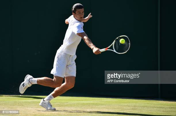 Austria's Sebastian Ofner returns against Germany's Alexander Zverev during their men's singles third round match on the sixth day of the 2017...