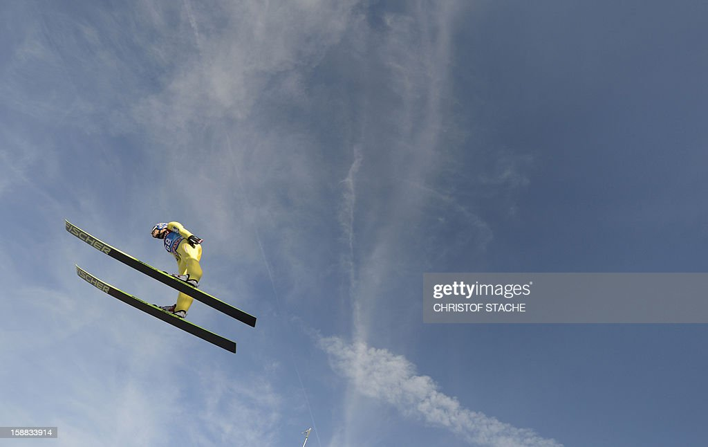 Austria's ski jumper Andreas Kofler soars through the air during his trial jump at the 61th edition of the Four-Hills-Tournament (Vierschanzentournee) on December 31, 2012 in Garmisch-Partenkirchen, southern Germany. The second competition of the jumping event will take place in Garmisch-Partenkirchen, before the tournament continues in Innsbruck (Austria) and in Bischofshofen (Austria).