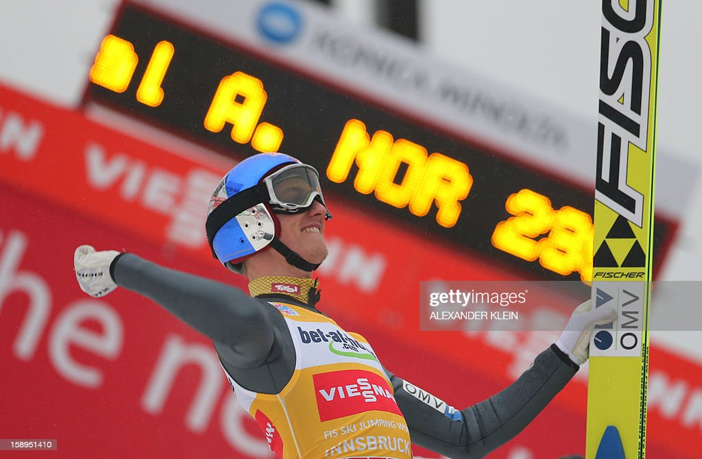 Austria's ski jumper Gregor Schlierenzauer celebrates after winning the competition as part of the 61st edition of the FIS World cup Four Hills competition (Vierschanzentournee) in Innsbruck on January 4, 2013.