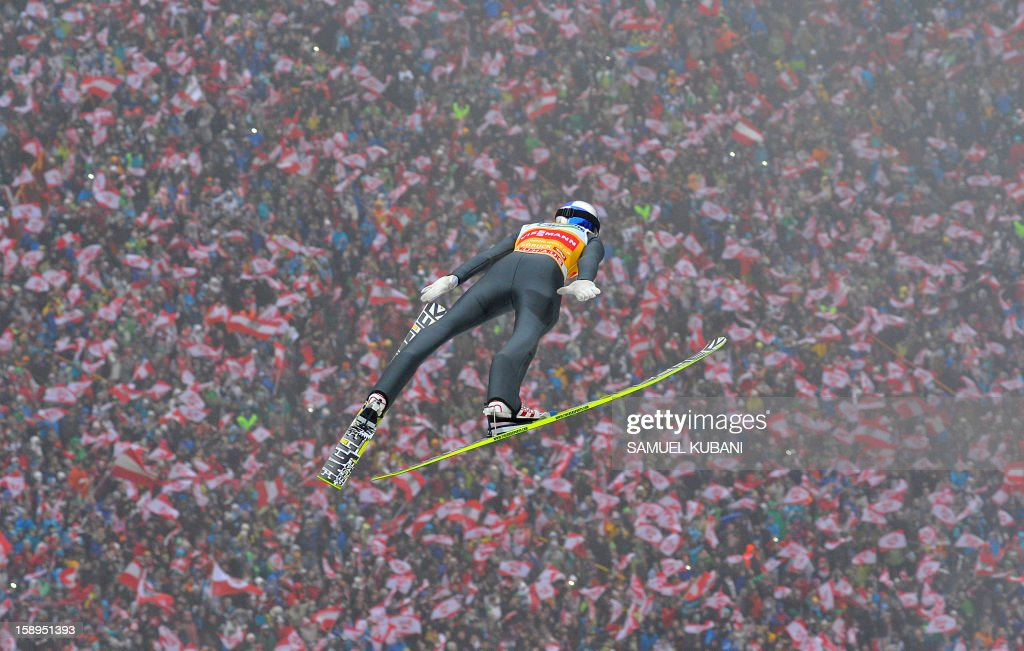 Austria's ski jumper Gregor Schlierenzauer competes during the 61st edition at the FIS World cup Four Hills competition (Vierschanzentournee) in Innsbruck on January 4, 2013.