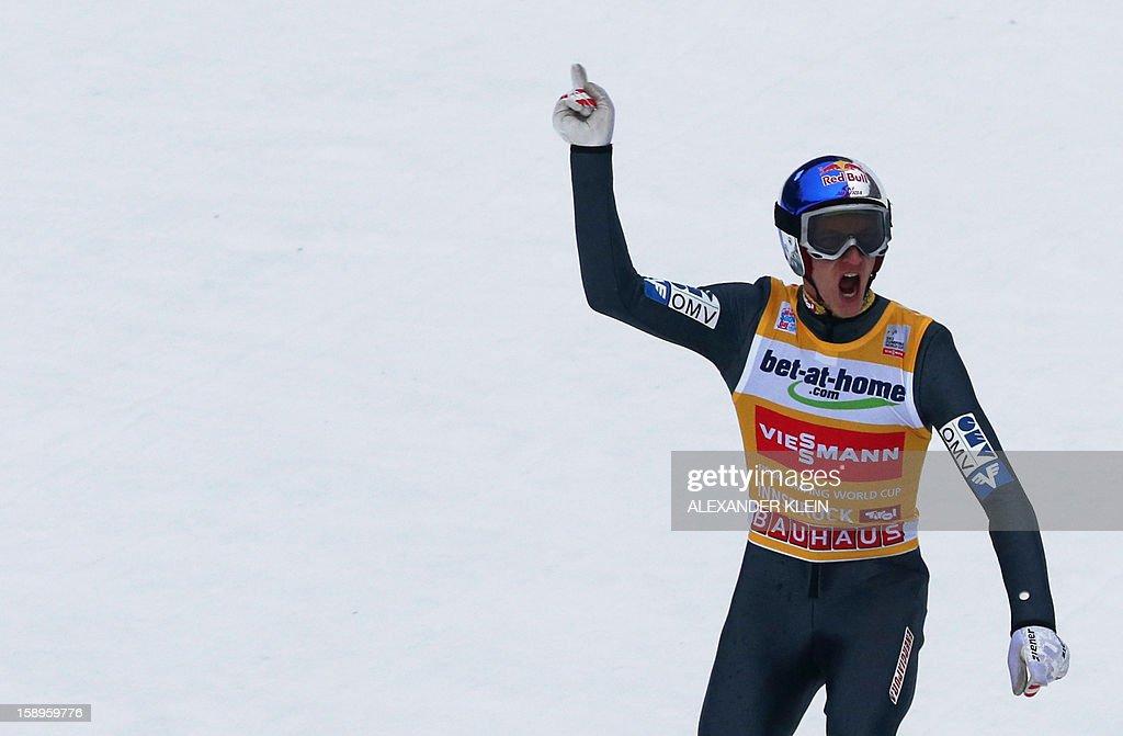 Austria's ski jumper Gregor Schlierenzauer gestures during the 61st Four-Hills-Tournament (Vierschanzentournee) in Innsbruck, Austria on January 4, 2013. Austria's Schlierenzauer won ahead of Poland's Kamil Stoch and Norway's Anders Bardal. AFP PHOTO / ALEXANDER KLEIN