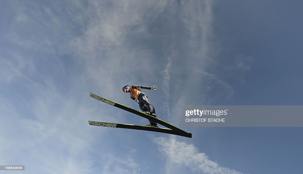 Austria's ski jumper Gregor Schlierenzauer soars through the air during the 61th edition of the Four-Hills-Tournament (Vierschanzentournee) on December 31, 2012 in Garmisch-Partenkirchen, southern Germany. The second competition of the jumping event will take place in Garmisch-Partenkirchen, before the tournament continues in Innsbruck (Austria) and in Bischofshofen (Austria).