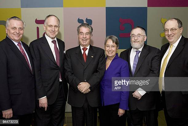 Austria's Social Minister Josef Hesoun the President of the Jewish World Congress Ronald Lauder Austrian President Heinz Fischer his wife Margit...