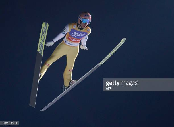 TOPSHOT Austria`s Stefan Kraft competes during qualification for for FIS Men's Ski Jumping HS138 in Lillehammer on March 13 2017 / AFP PHOTO / NTB...