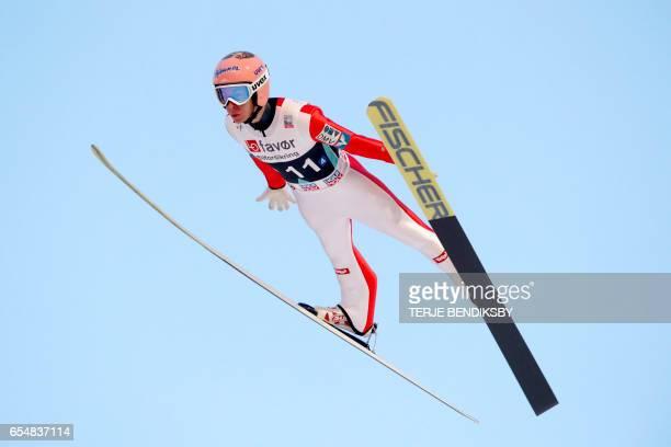 Austria´s Stefan Kraft soars before landing on 2535 meters new world record in FIS Ski Jumping World Cup Men´s Team HS225 in Vikersund 18 March 2017...