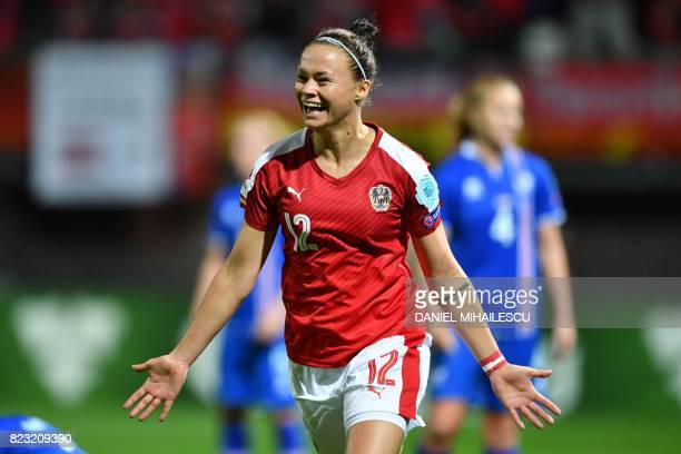 Austria's Stefanie Enzinger celebrates after scoring her team's third goal during the UEFA Women's Euro 2017 football match between Iceland and...