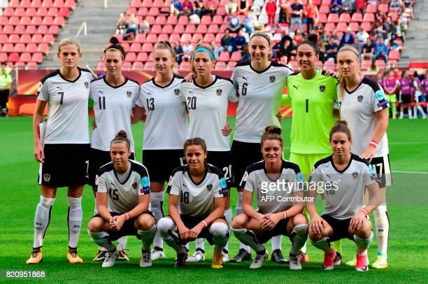 Austria's team players forward Nicole Billa midfielder Laura Feiersinger defender Verena Aschauer forward Nina Burger defender Carina Wenninger...
