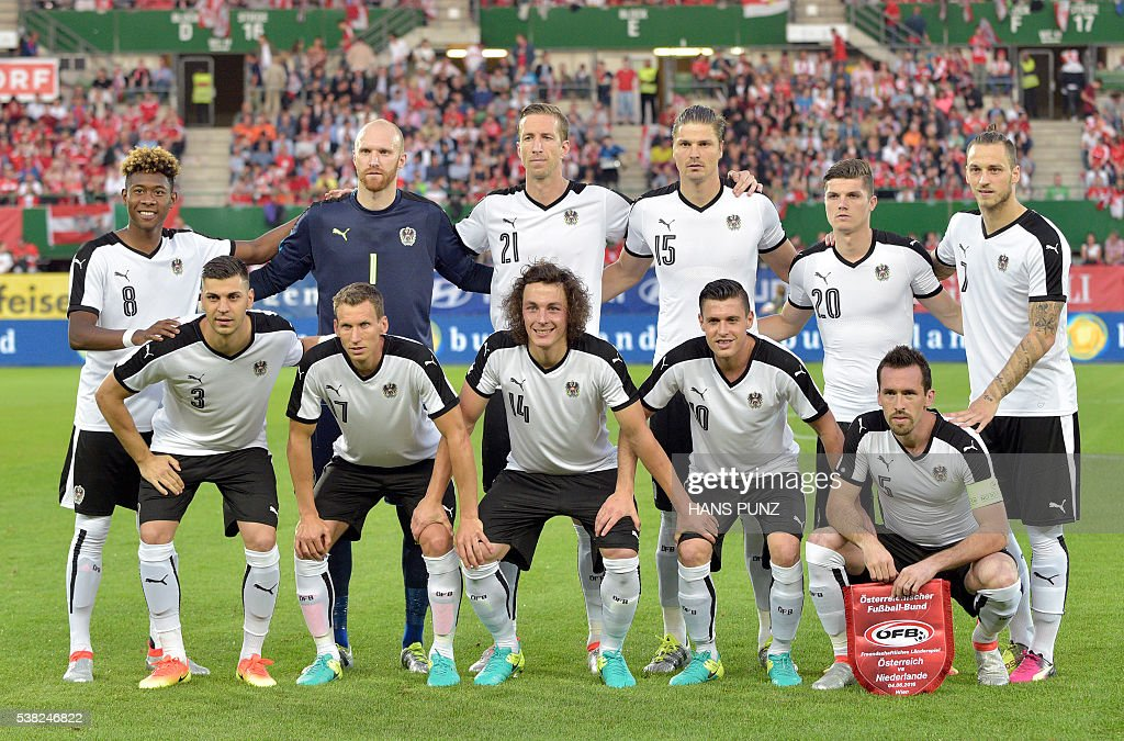 Austria's team poses for a team photo prior to the EURO 2016 friendly football match Austria vs Netherlands at Ernst Happel stadium in Vienna on June...