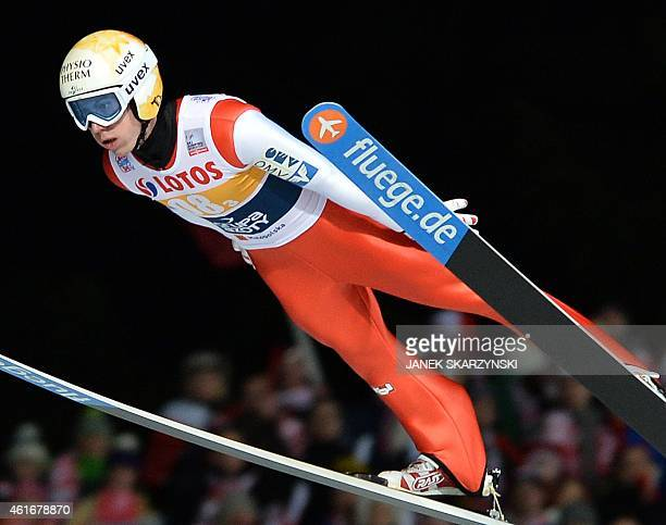 Austria's Thomas Diethart competes during the team competition of the FIS Ski Jumping World Cup in Zakopane Poland on January 17 2015 The German team...
