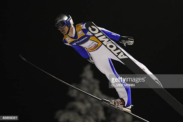 Austria's Thomas Morgenstern competes during the world Cup individual ski jumping on November 29 2008 in KuusamoRuka Switzerland's Simon Ammann won...
