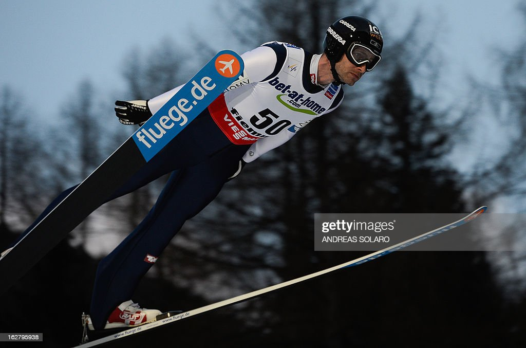 Austria's Wolfgang Loitz soars through the air on February 27, 2013 during the Large Hill Individual of the FIS Nordic World Ski Championships at the Ski Jumping stadium in Predazzo, northern Italy.
