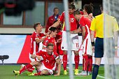 Austria's Zlatko Junuzovic celebrates with team mates after scoring the first goal for Austria during the Euro 2016 qualifying Group G football match...