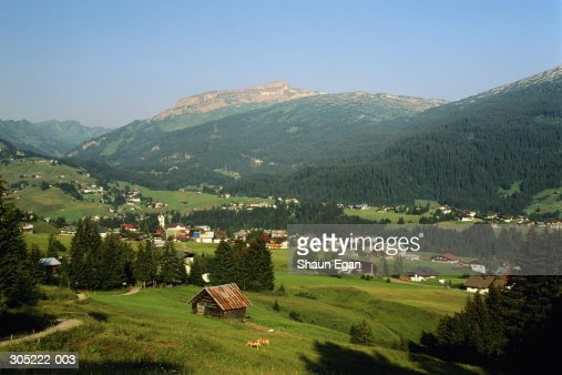 Austria,Vorarlberg,Riezlern, Mount Hoher Ifen in background : Stock Photo