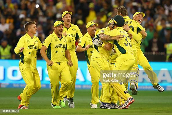 Austrlia celebrates victory during the 2015 ICC Cricket World Cup ...