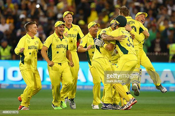 Austrlia celebrates victory during the 2015 ICC Cricket World Cup final match between Australia and New Zealand at Melbourne Cricket Ground on March...