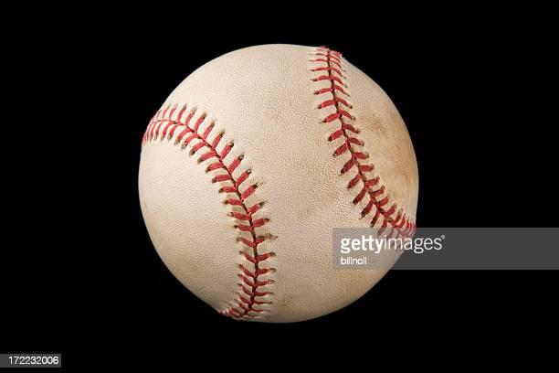 Authentic baseball isolated on black