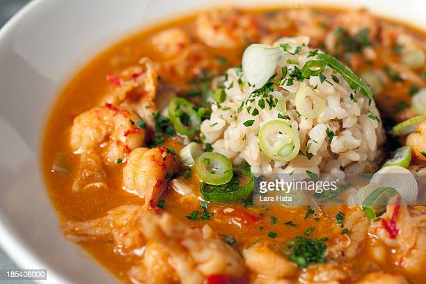 Authentic crawfish etoufee in a clean white dish