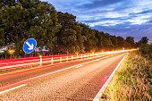 Authentic UK Motorway Roadworks Warning Traffic Cones at Night