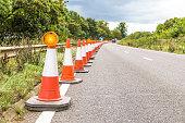 Authentic UK Motorway Roadworks Warning Traffic Cones