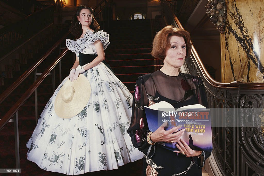 Author Alexandra Ripley with her new novel 'Scarlett' on the staircase of the Jefferson Hotel in Richmond Virginia with Scarlett O'Hara impersonator...
